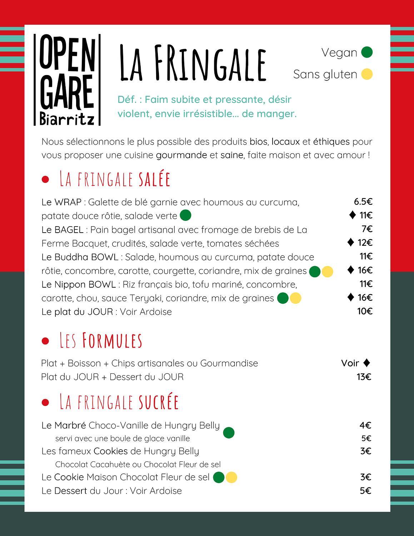 Menu fringale de l'Open Gare
